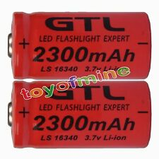 2x 3.7V CR123A 123A CR123 16340 2300mAh Red GTL Rechargeable Battery Cell