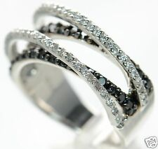 Solid 925 Sterling Silver Black & white CZ Criss-Cross Band Ring Size-7 '