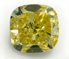 2 ct Cushion Canary Top Russian Quality CZ Moissanite Simulant  8 x 8 mm