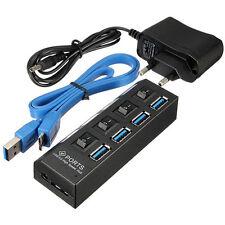USB 3,0 HUB 4 Port Verteiler Adapter mit USB Kabel & Netzteil für Notebook PC