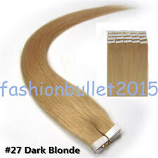#27 Dark Blonde Seamless Tape in Skin Weft Remy Real Human Hair Extensions16Inch