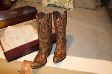 Lucchese Womens Western Boots M5010 Caramel Tan Hand Tool Cruces 8.5B