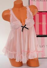 NWT Victoria's Secret Lingerie Flyaway Tulle Babydoll Lace Unlined M Light Pink