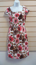 LADIES CREAM MULTI PRINT FLORAL KNEE LENGTH PARTY DRESS SIZE 10 BNWT