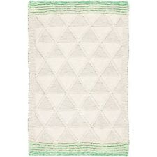 Plantation Knit One Purl One Rugs In Natural & Green, Blanket Style 120x170cm