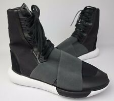 Y-3 Qasa High Black Fabric Leather Boots Sneakers Shoes Size 9 US