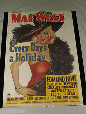 "VINTAGE 1960S MAE WEST EVERY DAY'S A HOLIDAY PARAMOUNT PICTURES 28"" X 19"" POSTER"