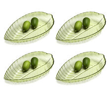 "4 pc Clear Green Leaf Shaped 12"" Acrylic Plastic Serving Plate Snack Dish Bowl"