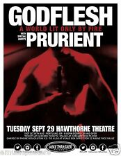 """GODFLESH / PRURIENT """"A WORLD LIT ONLY BY FIRE TOUR"""" 2015 PORTLAND CONCERT POSTER"""