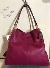 NWT COACH MADISON LEATHER SMALL PHOEBE SHOULDER BAG CRANBERRY 26224 *NEW*