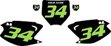 2003-2012 Kawasaki KX125 Number Plate Backgrounds Black with Green Numbers