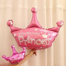 "LARGE 40"" PINK/PURPLE PRINCESS CROWN FOIL HELIUM BALLOON GIRL KID BIRTHDAY PARTY"