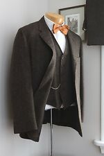 VTG 1950s Wool Tweed 3 Piece Suit 42R 32/30 Brown Barleycorn Reversible Vest USA