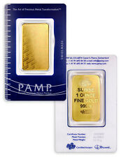 PAMP Suisse 1 Troy Oz .9999 Gold Bar Plain Design Sealed w/Assay Cert SKU32617