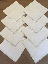8 Antique Fine Linen NAPKINS Madeira Handwork UNUSED Embroidered Organza Ornate