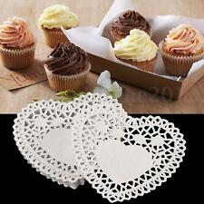 100Pcs 4'' White Love Heart Paper Lace Doilies Doily For Cardmaking Scrapbooking