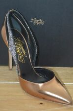 NIB ALEJANDRO INGELMO Womens FLAVIA Bronze/Black Leather Heel Size 8. EUR 38.5