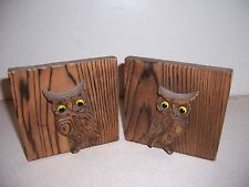 VTG RETRO PYROGRAPHY WOOD OWL BOOKENDS - MID CENTURY MODERN