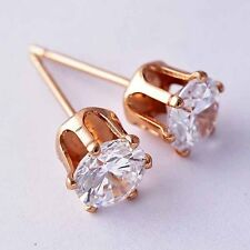 Womens Girls Fashion Crystal Stud Earrings Rose Gold Filled Free Shipping