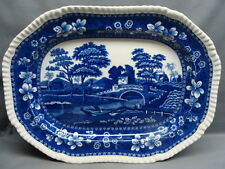 """Copeland Spodes Blue Tower 13"""" Serving Platter Oval Mark Free Shipping"""