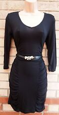 TROLL BLACK BELTED BOW RUCHED SIDES CROP SLEEVE BODYCON PENCIL TUBE SEXY DRESS S