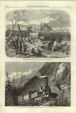 1868 Locomotive Engine Mont Cenis Railway Clearing Path Africa Wagons
