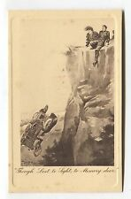 Early motor car accident - over a cliff - old comic postcard by W B King