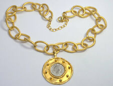 Susan Shaw 24KT Gold Plated Silver Plate Antique Silver Coin Medalion Necklace
