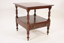 Willett Solid Cherry End Or Lamp Table 2 Tiers Single Drawer Vintage Furniture