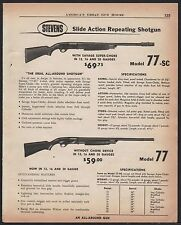 1956 STEVENS Model 77-SC w/ super choke and 77 Shotgun AD w/prices & specs