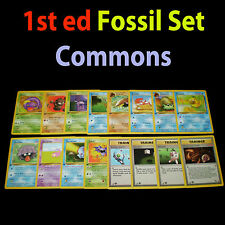 NM 1st edition COMPLETE Pokemon FOSSIL 16-Card Common Set/62 Trainer Original