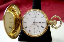 RARE JULES JURGENSEN COPENHAGEN 18K GOLD POCKET WATCH 12535 FULL HUNTER CASE