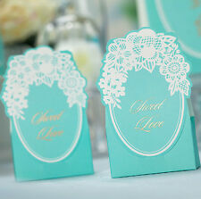 10 Pcs Tiffany Blue Wedding Favor Candy Box Lace Flower Gift Boxes Party Supply