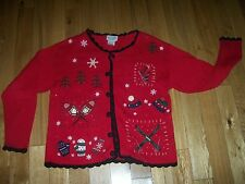 UGLY TACKY Christmas Holiday Skis Skates Mittens Cardigan Sweater Sz S Small
