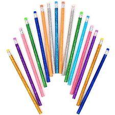 16 x Assorted Colour Glitter Pencils + Eraser School Drawing Children Kids Art