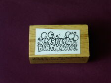 Inkadinkado Happy Birthday ! Balloons Greeting Party Celebrate wood Rubber Stamp
