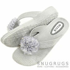 Ladies / Womens Summer Holiday Beach Millie Sandals Flip Flops Diamante Flower