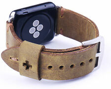 Quality Handmade Vintage Brown Leather Watch Strap Band Apple Watch 42mm A1