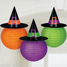 3 Halloween Haunted House Party Hanging Paper Witch Lanterns Decorations