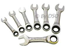 7pc Stubby Ratchet Spanners Set Combination Gear Wrench Spanner Kit  10 - 19mm