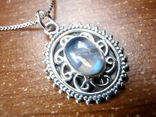 Rainbow Moonstone Oval Pendant 925 Sterling Silver Tiny Silver Bead Accents New