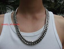 15mm 24'' Men's Stainless Steel Heavy Curb Link Chain Necklace Christmas Gifts