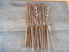 Carpentry Drill Bits Antique Lot Tools Wood Woodworking Hand Drills - used AS IS