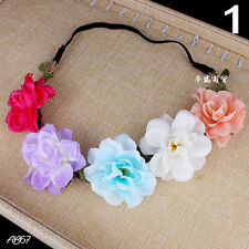 Boho Women Ladies Floral Flower Festival Wedding Garland Forehead Hair Head Band