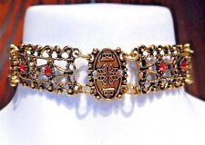 GOLD-TONE FILIGREE METAL CHOKER Roman red stone steampunk boho necklace T6