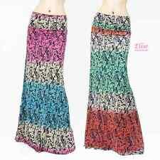 Damask Boho Pink/Green high waist fold over maxi long skirt( S/M/L/X )