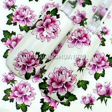 Beauty 3D Design Peony Flowers Water Transfer Nail Art Stickers Decals Tips M10#
