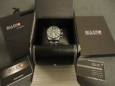 "NWT - MENS STAINLESS 100M SWISS BULER ""PILOT"" CHRONOGRAPH SP03C WATCH- W/BOX/BAG"