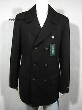 RALPH LAUREN Wool Blend Naval/Military Pea Coat Quilted Lining Black sz 44L (L)