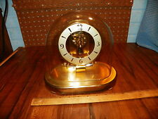 Vintage KIENINGER & OBERGFELL Glass Dome Brass Clock Electronic Magnetic Impulse